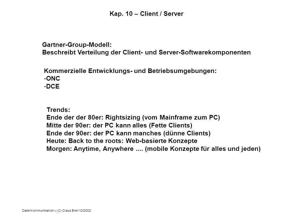 Datenkommunikation – (C) Claus Brell 12/2002 Kap. 10 – Client / Server Gartner-Group-Modell: Beschreibt Verteilung der Client- und Server-Softwarekomp