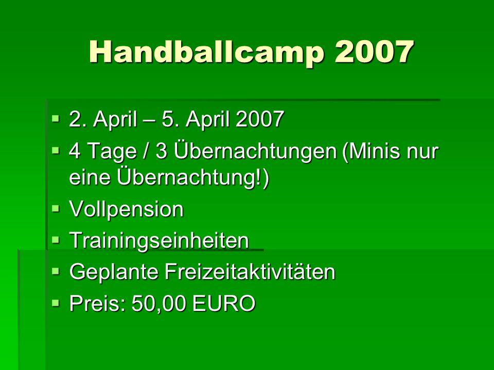 Handballcamp 2007 2. April – 5. April 2007 2. April – 5. April 2007 4 Tage / 3 Übernachtungen (Minis nur eine Übernachtung!) 4 Tage / 3 Übernachtungen