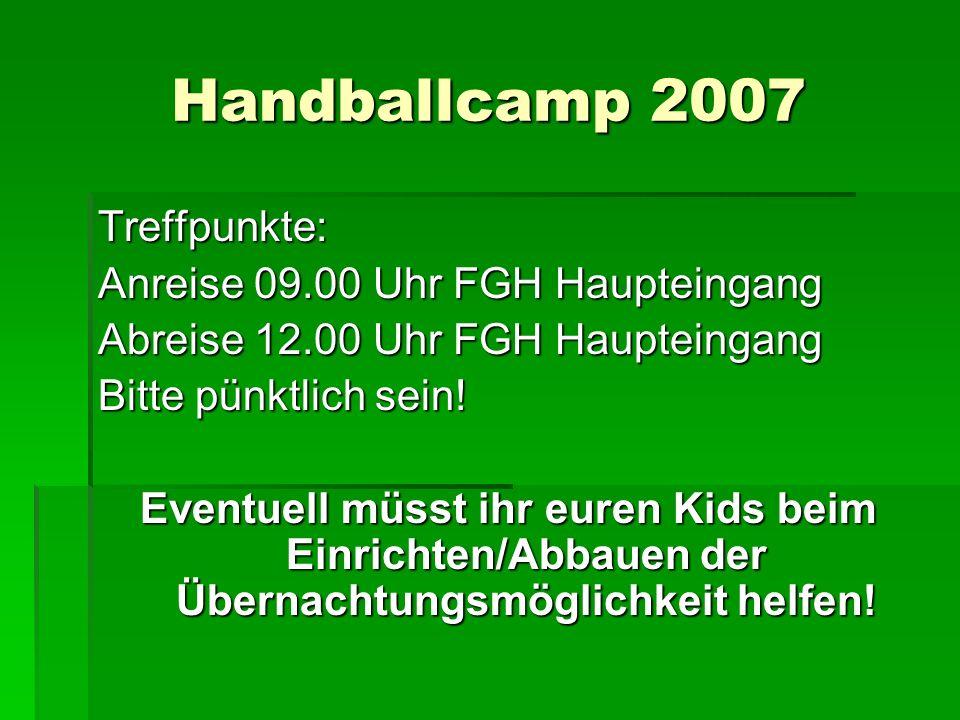 Handballcamp 2007 Treffpunkte: Anreise 09.00 Uhr FGH Haupteingang Abreise 12.00 Uhr FGH Haupteingang Bitte pünktlich sein! Eventuell müsst ihr euren K
