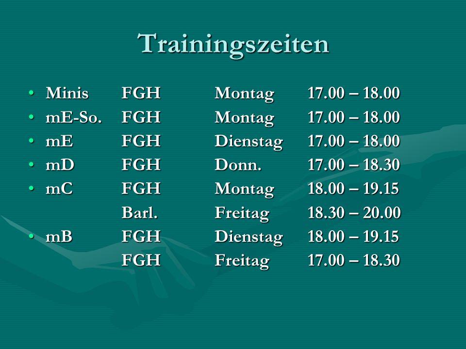 Trainingszeiten MinisFGH Montag 17.00 – 18.00MinisFGH Montag 17.00 – 18.00 mE-So.FGH Montag 17.00 – 18.00mE-So.FGH Montag 17.00 – 18.00 mEFGHDienstag17.00 – 18.00mEFGHDienstag17.00 – 18.00 mDFGHDonn.17.00 – 18.30mDFGHDonn.17.00 – 18.30 mCFGHMontag18.00 – 19.15mCFGHMontag18.00 – 19.15 Barl.Freitag18.30 – 20.00 mBFGHDienstag18.00 – 19.15mBFGHDienstag18.00 – 19.15 FGHFreitag17.00 – 18.30