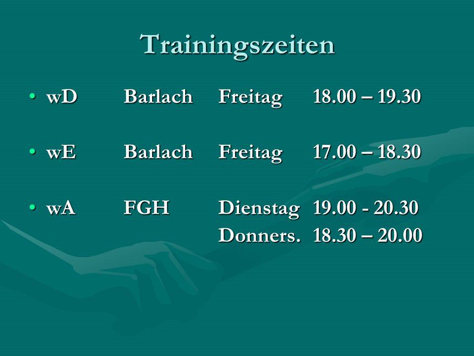 Trainingszeiten wDBarlachFreitag18.00 – 19.30wDBarlachFreitag18.00 – 19.30 wEBarlachFreitag17.00 – 18.30wEBarlachFreitag17.00 – 18.30 wAFGHDienstag19.00 - 20.30wAFGHDienstag19.00 - 20.30 Donners.18.30 – 20.00