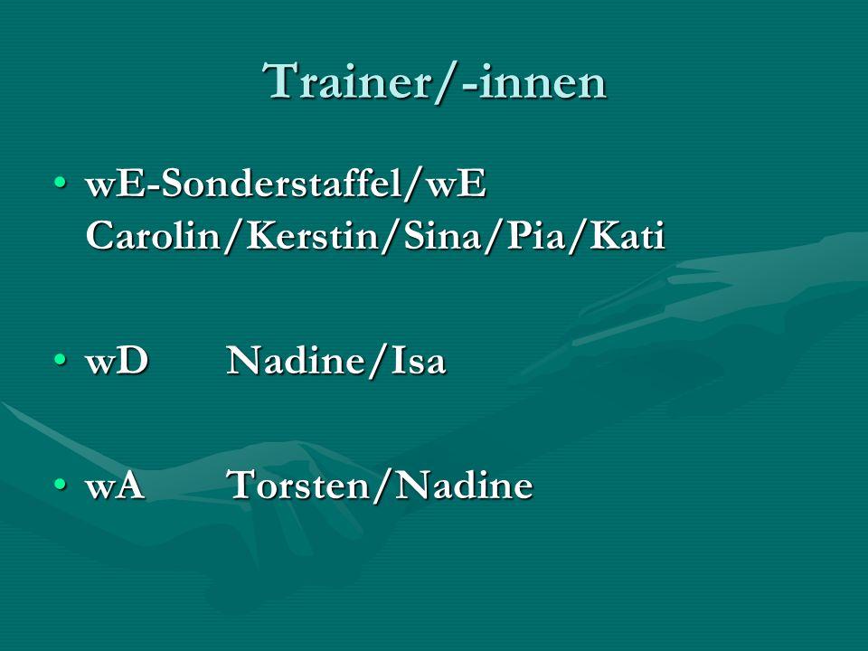 Trainer/-innen wE-Sonderstaffel/wE Carolin/Kerstin/Sina/Pia/KatiwE-Sonderstaffel/wE Carolin/Kerstin/Sina/Pia/Kati wDNadine/IsawDNadine/Isa wATorsten/NadinewATorsten/Nadine