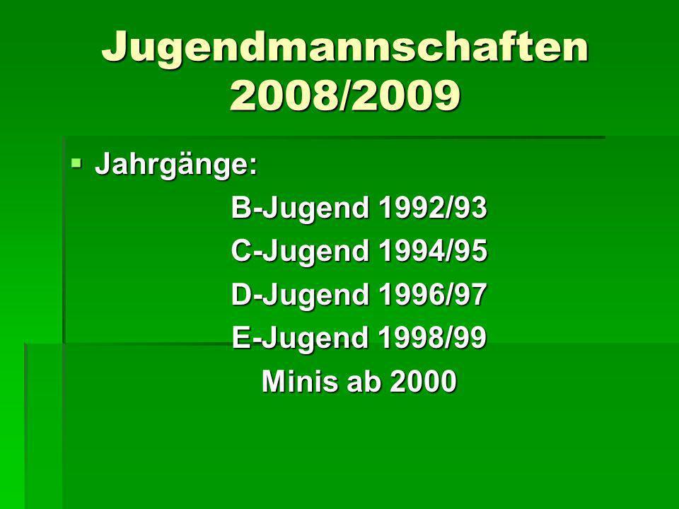Jugendmannschaften 2008/2009 Jahrgänge: Jahrgänge: B-Jugend 1992/93 C-Jugend 1994/95 D-Jugend 1996/97 E-Jugend 1998/99 Minis ab 2000