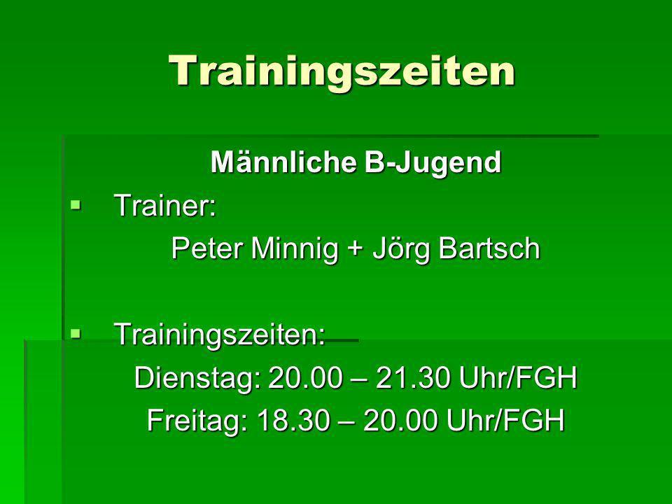 Trainingszeiten Männliche B-Jugend Trainer: Trainer: Peter Minnig + Jörg Bartsch Trainingszeiten: Trainingszeiten: Dienstag: 20.00 – 21.30 Uhr/FGH Fre