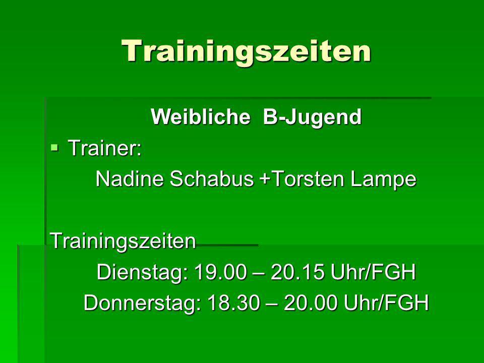 Trainingszeiten Weibliche B-Jugend Trainer: Trainer: Nadine Schabus +Torsten Lampe Trainingszeiten Dienstag: 19.00 – 20.15 Uhr/FGH Donnerstag: 18.30 –