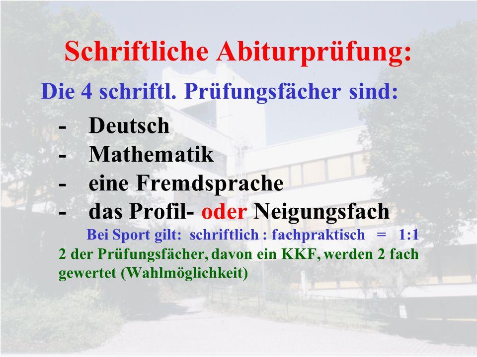 Schriftliche Abiturprüfung: Die 4 schriftl. Prüfungsfächer sind: -Deutsch -Mathematik -eine Fremdsprache -das Profil- oder Neigungsfach Bei Sport gilt