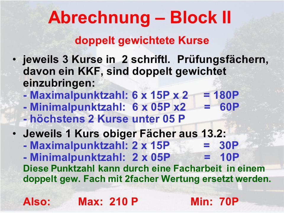 Abrechnung – Block II doppelt gewichtete Kurse jeweils 3 Kurse in 2 schriftl. Prüfungsfächern, davon ein KKF, sind doppelt gewichtet einzubringen: - M