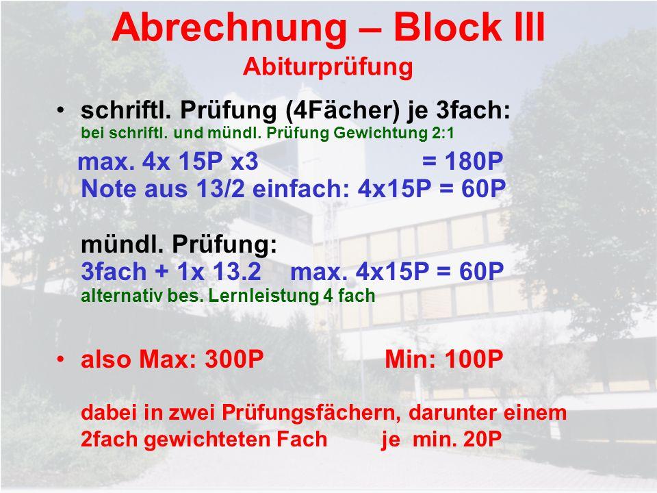 Abrechnung – Block III Abiturprüfung schriftl. Prüfung (4Fächer) je 3fach: bei schriftl. und mündl. Prüfung Gewichtung 2:1 max. 4x 15P x3 = 180P Note