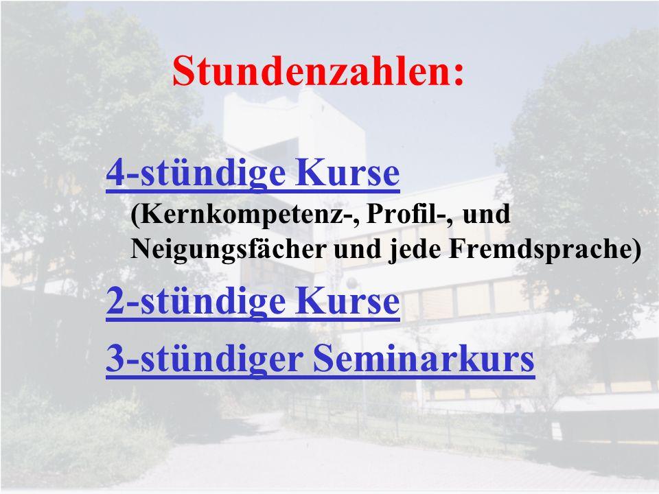 Stundenzahlen: 4-stündige Kurse (Kernkompetenz-, Profil-, und Neigungsfächer und jede Fremdsprache) 2-stündige Kurse 3-stündiger Seminarkurs