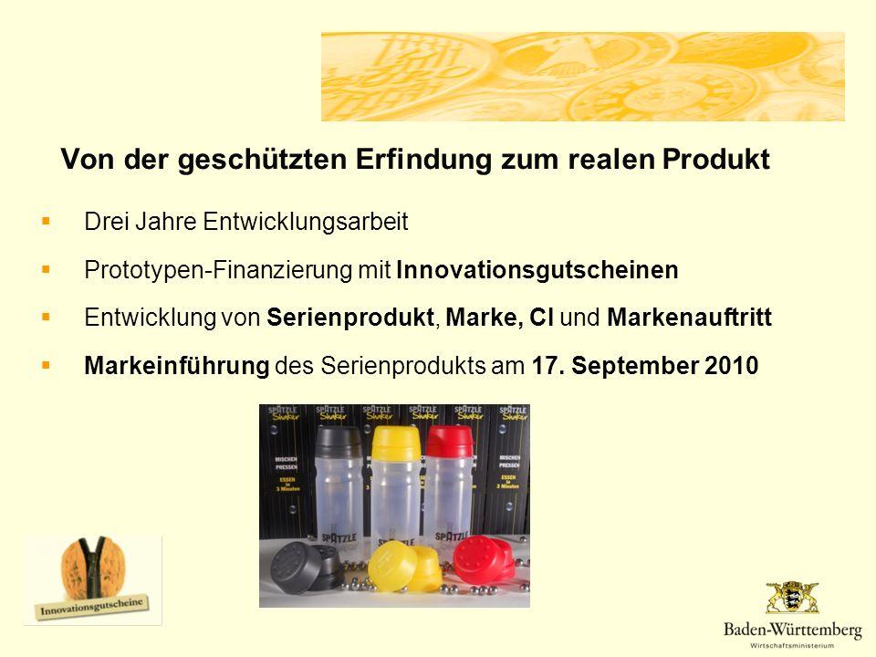 Drei Jahre Entwicklungsarbeit Prototypen-Finanzierung mit Innovationsgutscheinen Entwicklung von Serienprodukt, Marke, CI und Markenauftritt Markeinführung des Serienprodukts am 17.