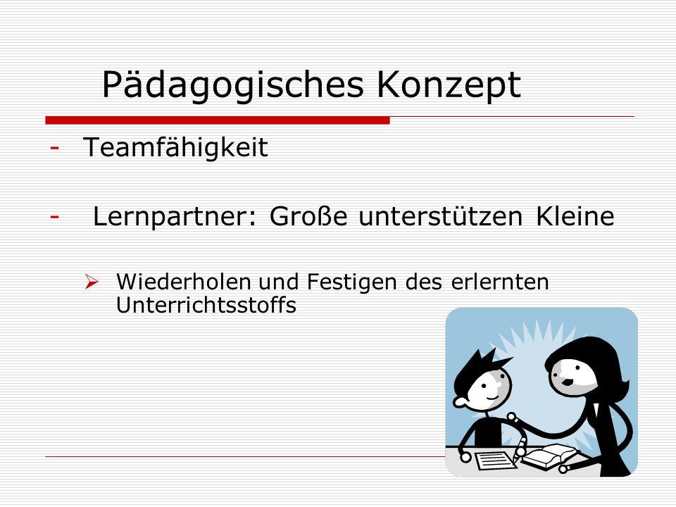 Pädagogisches Konzept -Teamfähigkeit - Lernpartner: Große unterstützen Kleine Wiederholen und Festigen des erlernten Unterrichtsstoffs 13