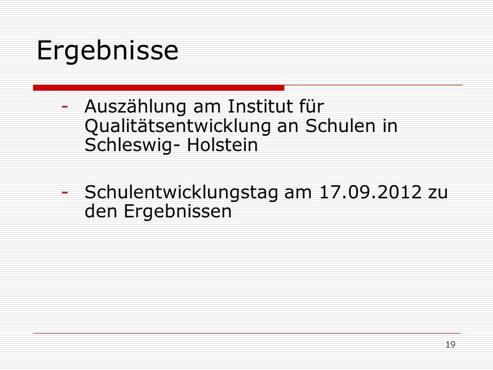 Ergebnisse -Auszählung am Institut für Qualitätsentwicklung an Schulen in Schleswig- Holstein -Schulentwicklungstag am 17.09.2012 zu den Ergebnissen 1