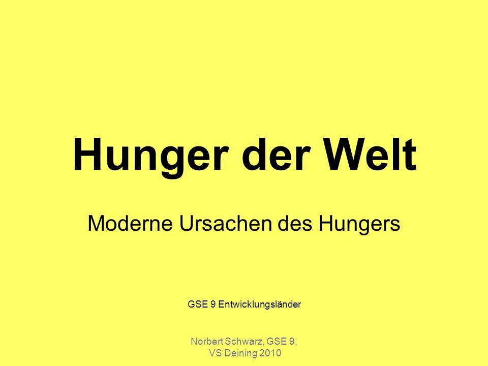 Norbert Schwarz, GSE 9, VS Deining 2010 Situation Nahrungsmittel: Ende des letzten Jahrhunderts gab es ein Verteilungsproblem, das bedeutet, dass es genug Nahrungsmittel gab und diese nicht gerecht verteilt waren.