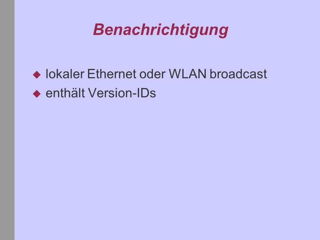 Benachrichtigung lokaler Ethernet oder WLAN broadcast enthält Version-IDs