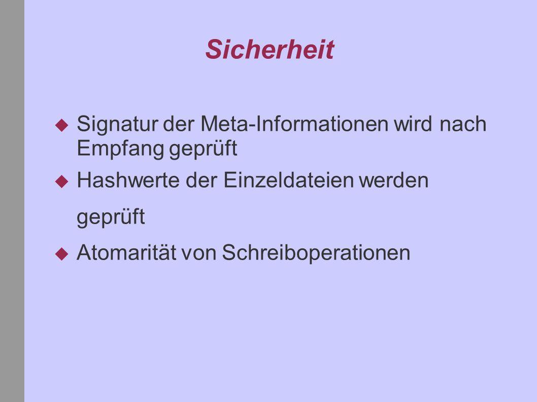 Sicherheit Signatur der Meta-Informationen wird nach Empfang geprüft Hashwerte der Einzeldateien werden geprüft Atomarität von Schreiboperationen
