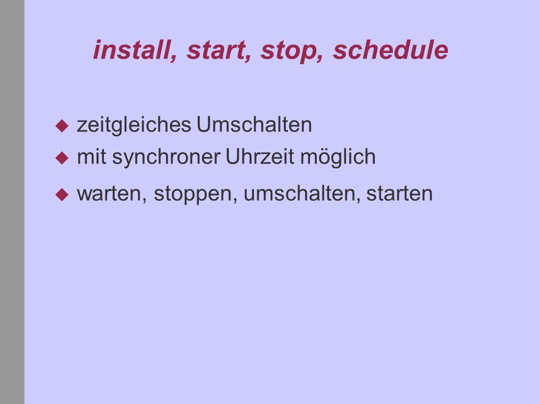 install, start, stop, schedule zeitgleiches Umschalten mit synchroner Uhrzeit möglich warten, stoppen, umschalten, starten