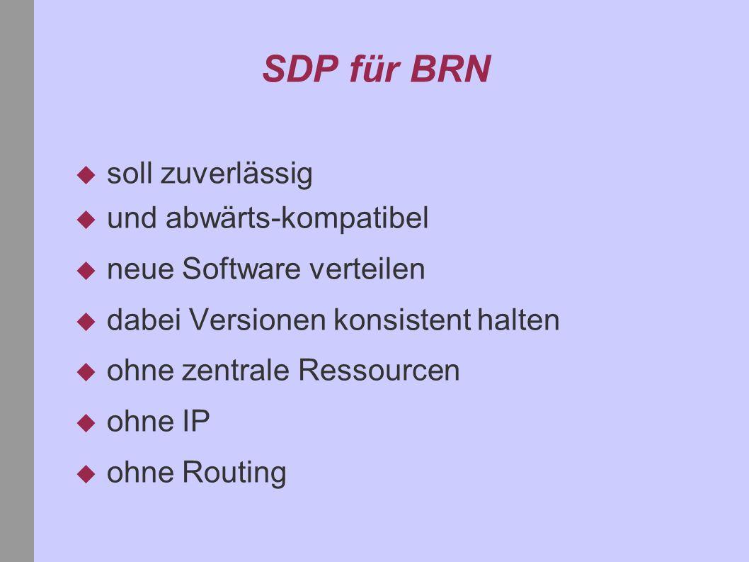 SDP für BRN soll zuverlässig und abwärts-kompatibel neue Software verteilen dabei Versionen konsistent halten ohne zentrale Ressourcen ohne IP ohne Routing