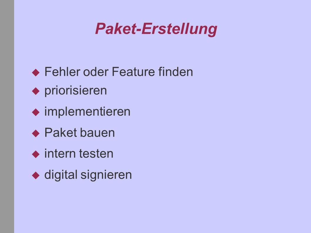 Paket-Erstellung Fehler oder Feature finden priorisieren implementieren Paket bauen intern testen digital signieren