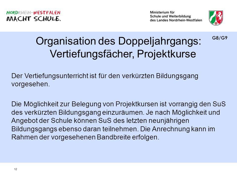 12 Organisation des Doppeljahrgangs: Vertiefungsfächer, Projektkurse Der Vertiefungsunterricht ist für den verkürzten Bildungsgang vorgesehen. Die Mög