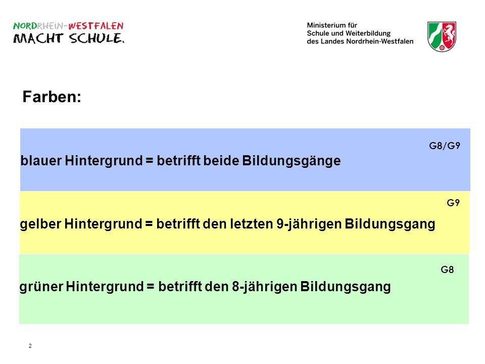 2 blauer Hintergrund = betrifft beide Bildungsgänge Farben: gelber Hintergrund = betrifft den letzten 9-jährigen Bildungsgang grüner Hintergrund = bet