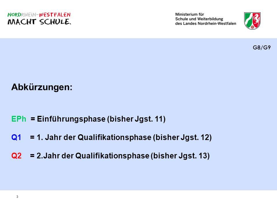 3 Abkürzungen: EPh = Einführungsphase (bisher Jgst. 11) Q1 = 1. Jahr der Qualifikationsphase (bisher Jgst. 12) Q2 = 2.Jahr der Qualifikationsphase (bi
