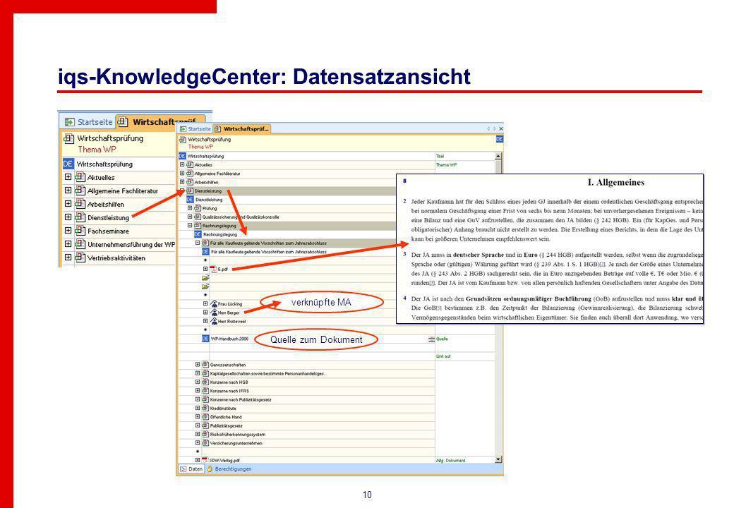10 iqs-KnowledgeCenter: Datensatzansicht Quelle zum Dokument verknüpfte MA