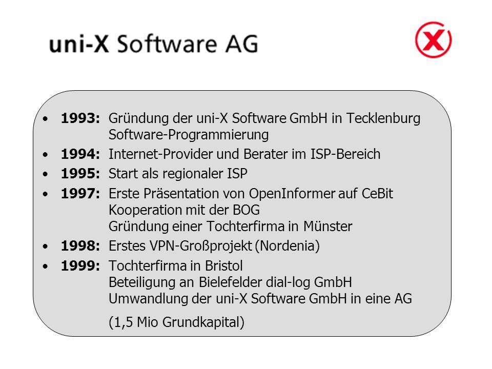 1993: Gründung der uni-X Software GmbH in Tecklenburg Software-Programmierung 1994: Internet-Provider und Berater im ISP-Bereich 1995: Start als regionaler ISP 1997: Erste Präsentation von OpenInformer auf CeBit Kooperation mit der BOG Gründung einer Tochterfirma in Münster 1998:Erstes VPN-Großprojekt (Nordenia) 1999:Tochterfirma in Bristol Beteiligung an Bielefelder dial-log GmbH Umwandlung der uni-X Software GmbH in eine AG (1,5 Mio Grundkapital)