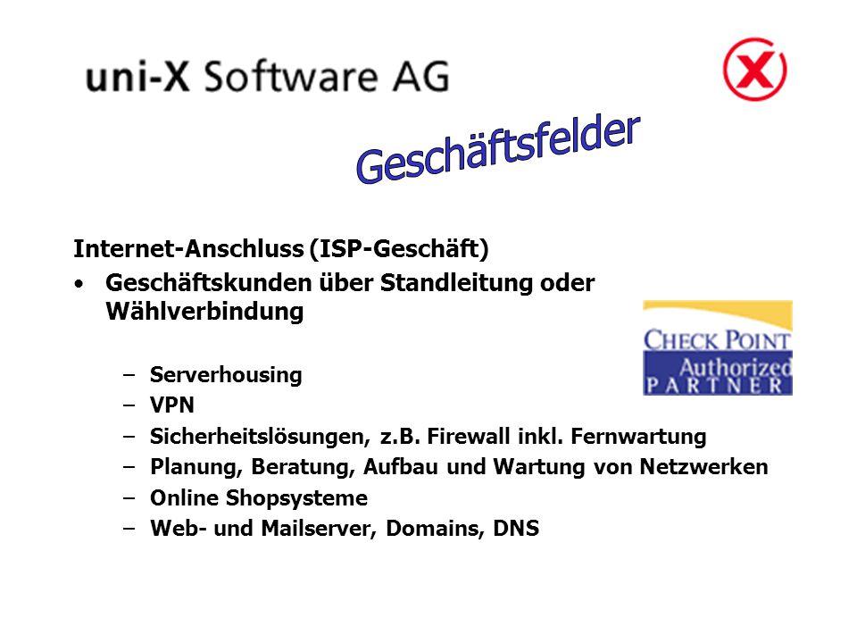 Internet-Anschluss (ISP-Geschäft) Geschäftskunden über Standleitung oder Wählverbindung –Serverhousing –VPN –Sicherheitslösungen, z.B. Firewall inkl.