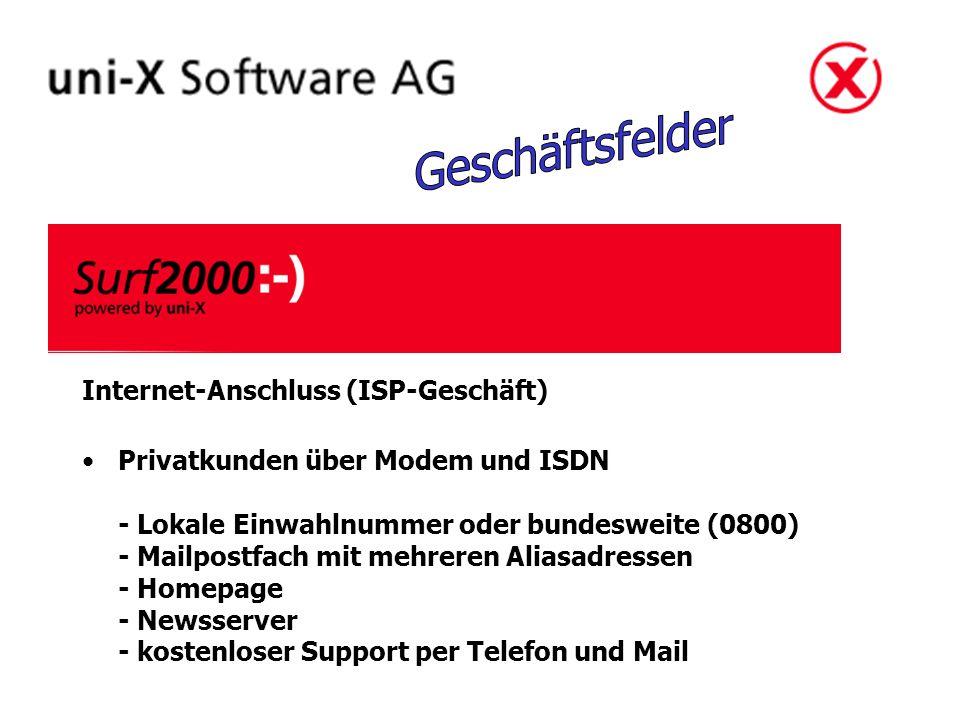 Internet-Anschluss (ISP-Geschäft) Privatkunden über Modem und ISDN - Lokale Einwahlnummer oder bundesweite (0800) - Mailpostfach mit mehreren Aliasadressen - Homepage - Newsserver - kostenloser Support per Telefon und Mail