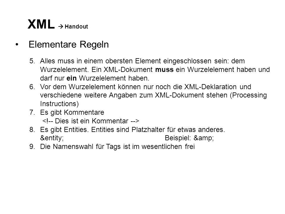 XML Handout Elementare Regeln 5.Alles muss in einem obersten Element eingeschlossen sein: dem Wurzelelement.