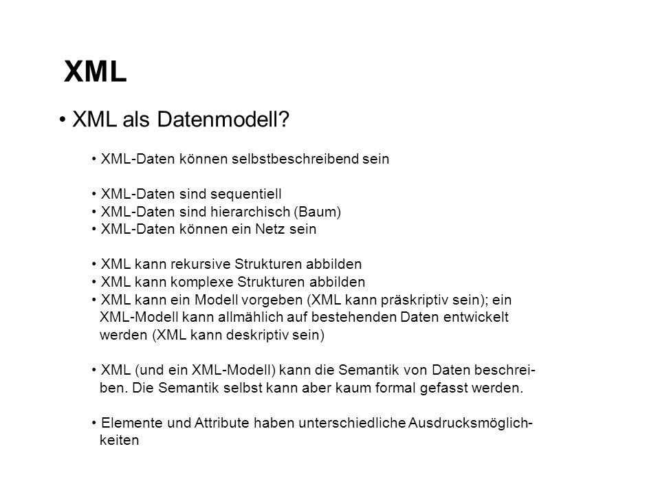 XML XML als Datenmodell.