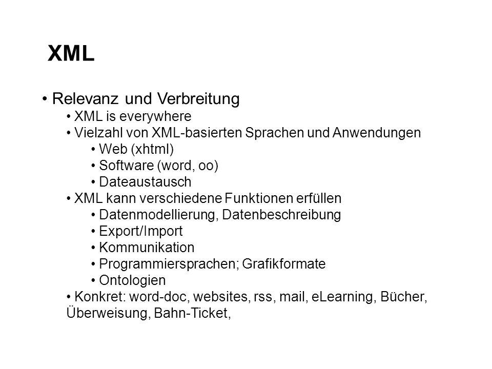 XML Relevanz und Verbreitung XML is everywhere Vielzahl von XML-basierten Sprachen und Anwendungen Web (xhtml) Software (word, oo) Dateaustausch XML kann verschiedene Funktionen erfüllen Datenmodellierung, Datenbeschreibung Export/Import Kommunikation Programmiersprachen; Grafikformate Ontologien Konkret: word-doc, websites, rss, mail, eLearning, Bücher, Überweisung, Bahn-Ticket,