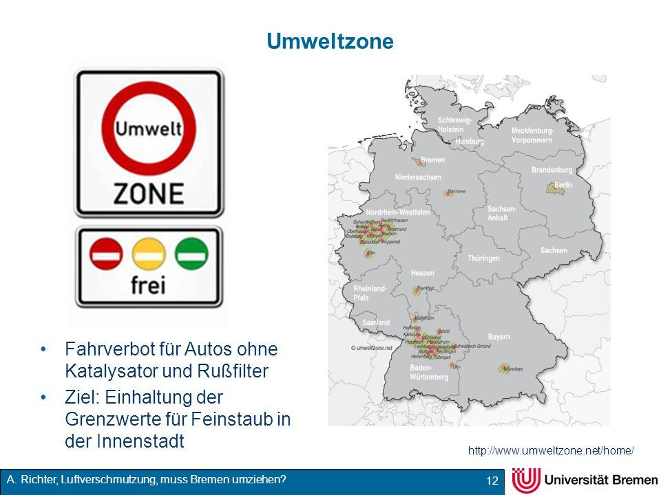 A. Richter, Luftverschmutzung, muss Bremen umziehen? Umweltzone Fahrverbot für Autos ohne Katalysator und Rußfilter Ziel: Einhaltung der Grenzwerte fü
