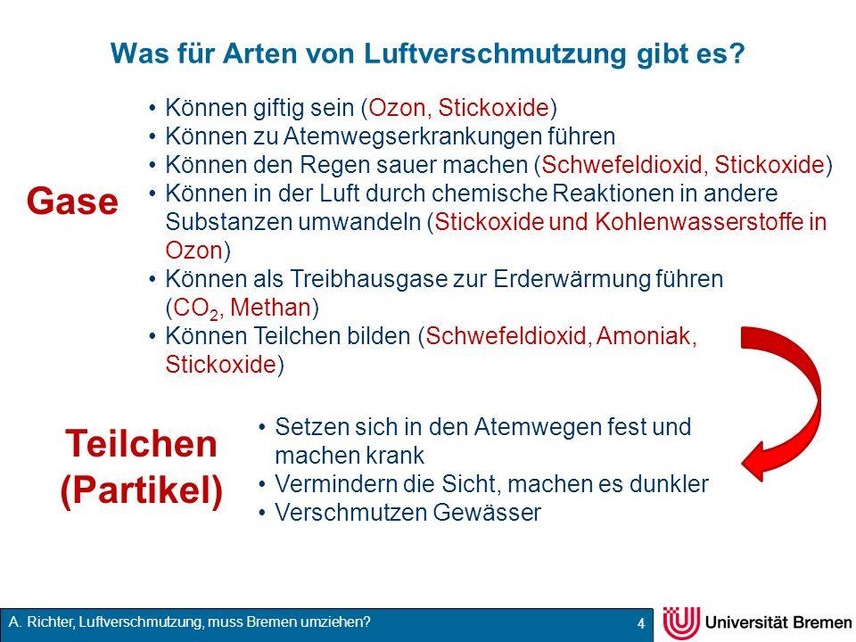 A. Richter, Luftverschmutzung, muss Bremen umziehen? Was für Arten von Luftverschmutzung gibt es? 4 Teilchen (Partikel) Gase Setzen sich in den Atemwe