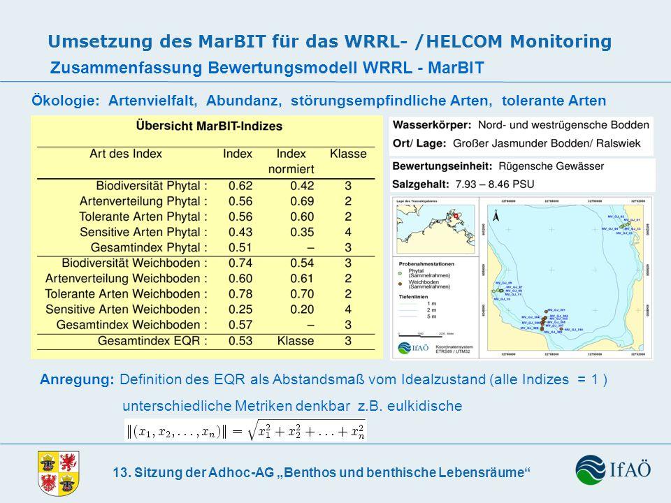 13. Sitzung der Adhoc-AG Benthos und benthische Lebensräume Umsetzung des MarBIT für das WRRL- /HELCOM Monitoring Zusammenfassung Bewertungsmodell WRR