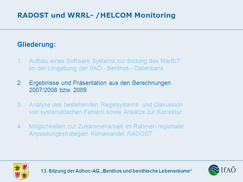 13. Sitzung der Adhoc-AG Benthos und benthische Lebensräume RADOST und WRRL- /HELCOM Monitoring Gliederung: 1. Aufbau eines Software Systems zur Bildu