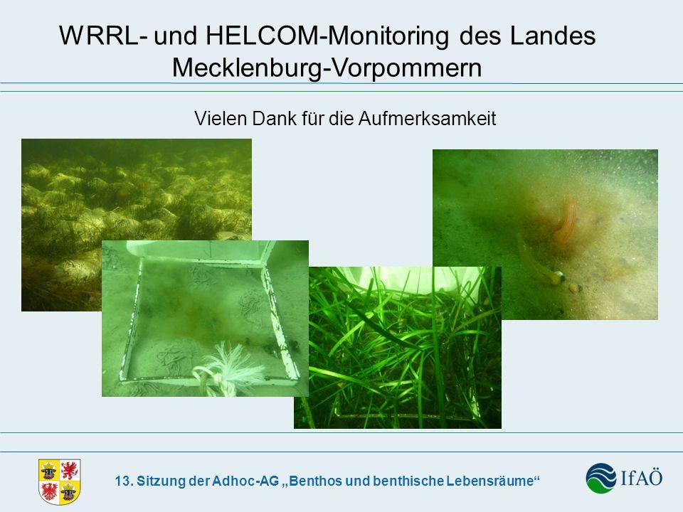 13. Sitzung der Adhoc-AG Benthos und benthische Lebensräume WRRL- und HELCOM-Monitoring des Landes Mecklenburg-Vorpommern Vielen Dank für die Aufmerks