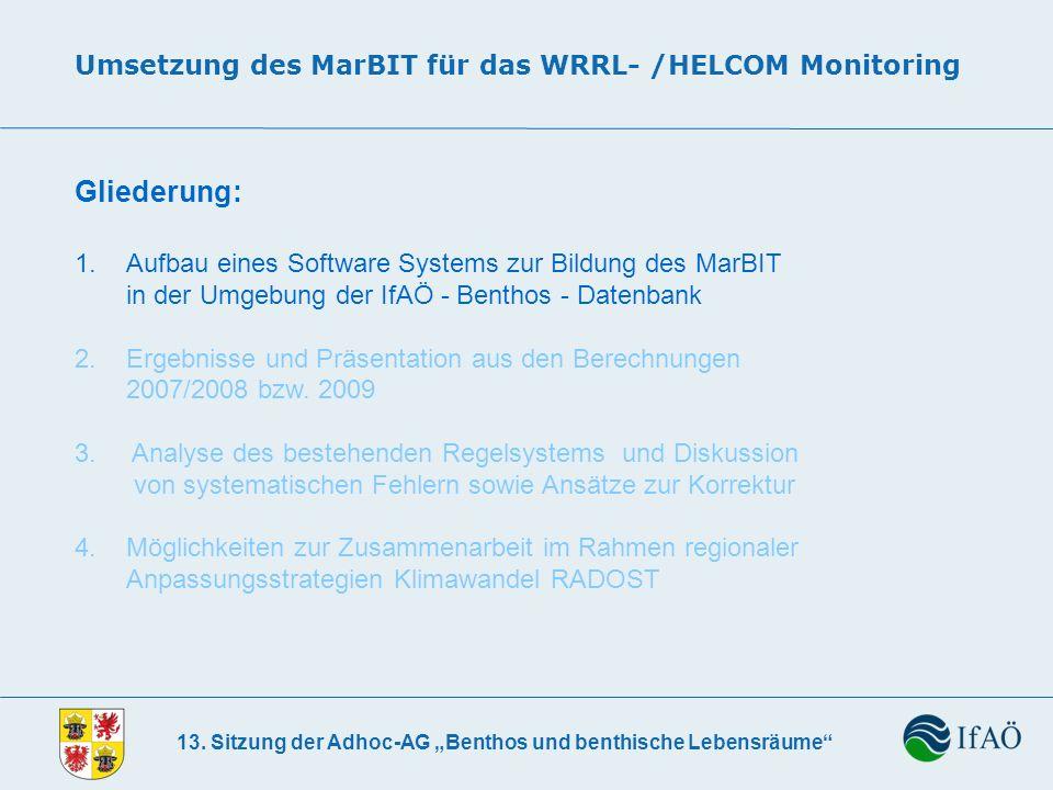 13. Sitzung der Adhoc-AG Benthos und benthische Lebensräume Umsetzung des MarBIT für das WRRL- /HELCOM Monitoring Gliederung: 1. Aufbau eines Software