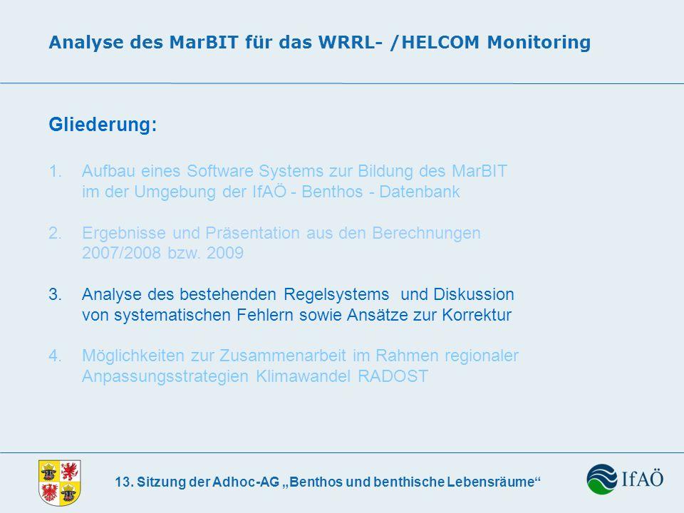 13. Sitzung der Adhoc-AG Benthos und benthische Lebensräume Analyse des MarBIT für das WRRL- /HELCOM Monitoring Gliederung: 1. Aufbau eines Software S