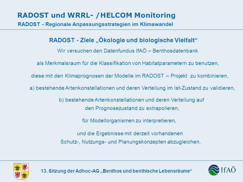 13. Sitzung der Adhoc-AG Benthos und benthische Lebensräume RADOST und WRRL- /HELCOM Monitoring RADOST - Regionale Anpassungsstrategien im Klimawandel