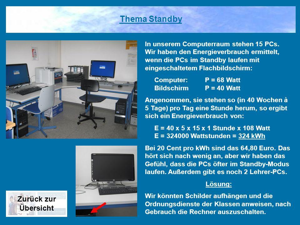 In unserem Computerraum stehen 15 PCs. Wir haben den Energieverbrauch ermittelt, wenn die PCs im Standby laufen mit eingeschaltetem Flachbildschirm: C