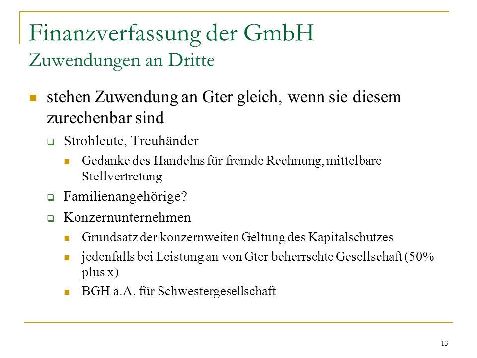 13 Finanzverfassung der GmbH Zuwendungen an Dritte stehen Zuwendung an Gter gleich, wenn sie diesem zurechenbar sind Strohleute, Treuhänder Gedanke des Handelns für fremde Rechnung, mittelbare Stellvertretung Familienangehörige.