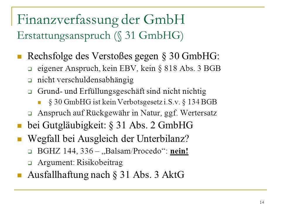 14 Finanzverfassung der GmbH Erstattungsanspruch (§ 31 GmbHG) Rechsfolge des Verstoßes gegen § 30 GmbHG: eigener Anspruch, kein EBV, kein § 818 Abs.