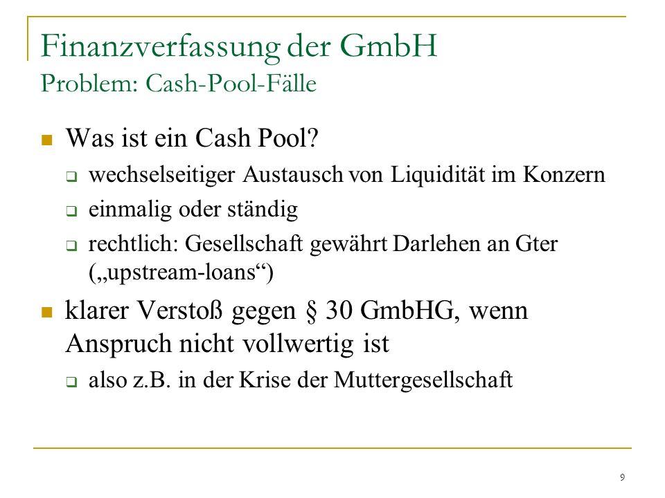 9 Finanzverfassung der GmbH Problem: Cash-Pool-Fälle Was ist ein Cash Pool.