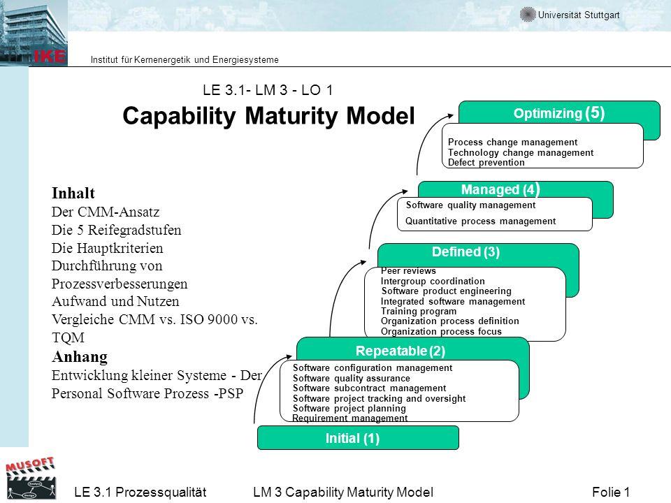 Universität Stuttgart Institut für Kernenergetik und Energiesysteme Folie 1LE 3.1 ProzessqualitätLM 3 Capability Maturity Model LE 3.1- LM 3 - LO 1 Ca