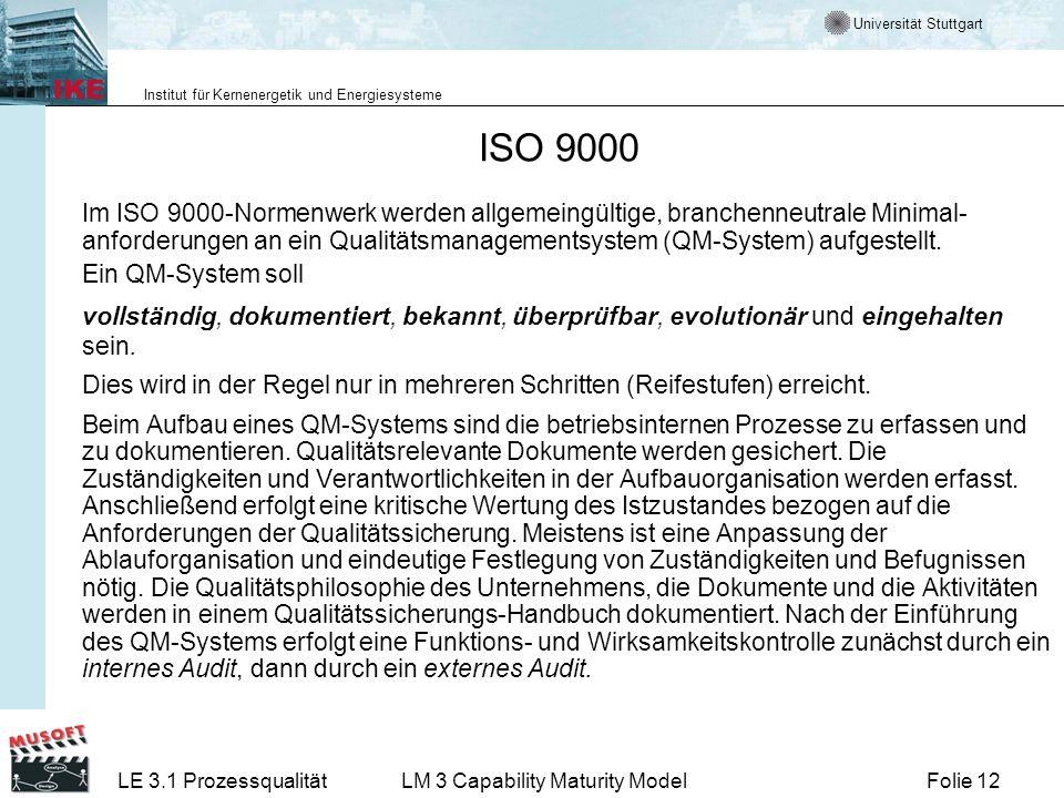 Universität Stuttgart Institut für Kernenergetik und Energiesysteme Folie 12LE 3.1 ProzessqualitätLM 3 Capability Maturity Model ISO 9000 Im ISO 9000-