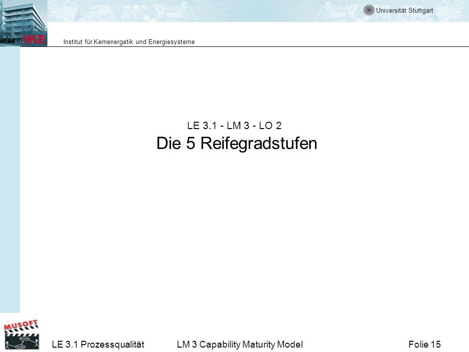 Universität Stuttgart Institut für Kernenergetik und Energiesysteme Folie 15LE 3.1 ProzessqualitätLM 3 Capability Maturity Model LE 3.1 - LM 3 - LO 2