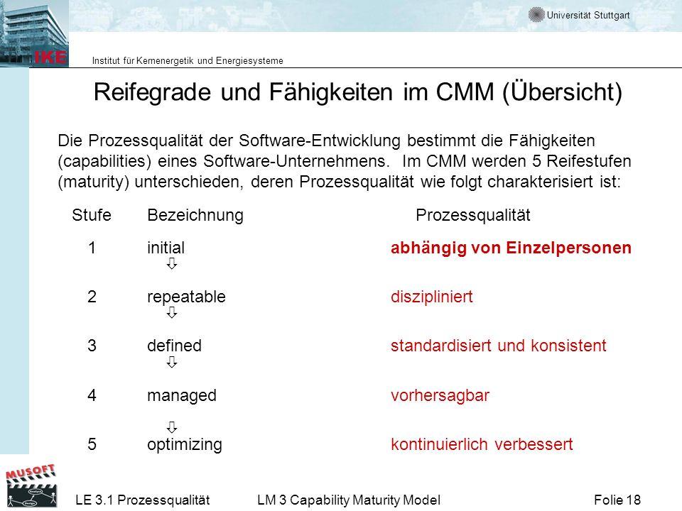 Universität Stuttgart Institut für Kernenergetik und Energiesysteme Folie 18LE 3.1 ProzessqualitätLM 3 Capability Maturity Model Reifegrade und Fähigk