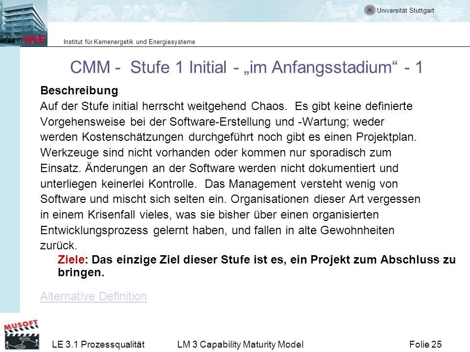Universität Stuttgart Institut für Kernenergetik und Energiesysteme Folie 25LE 3.1 ProzessqualitätLM 3 Capability Maturity Model CMM - Stufe 1 Initial