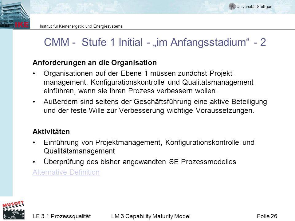 Universität Stuttgart Institut für Kernenergetik und Energiesysteme Folie 26LE 3.1 ProzessqualitätLM 3 Capability Maturity Model CMM - Stufe 1 Initial